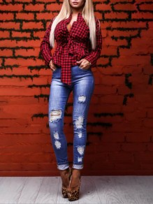 Red-Black Plaid Sashes V-neck Bowknot Long Sleeve Sexy Slim Blouse