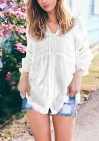 White Patchwork Lace Hollow-out V-neck Long Sleeve Blouse