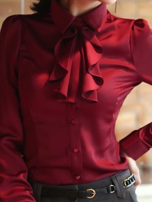 Wine Red Plain Single Breasted Ruffle Elegant Blouse