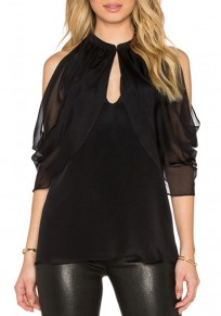 Black Patchwork Cut Out Round Neck Sexy Blouse