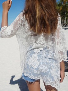 White Floral Lace Embroidery Grenadine See-through Cover Up Beach Kimono