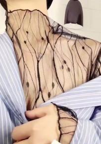 Blusa llanura encaje de adina manga larga collar de banda negro