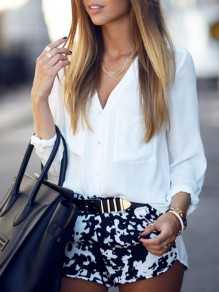 Chemisier avec poches v-cou manches longues mode femme blouse blanc