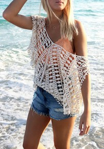 Beige Plain Hollow-out Boat Neck Lace Blouse