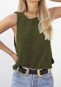 Army Green Plain Irregular Round Neck Sleeveless Sexy Blouse
