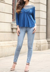 Blue Patchwork Hollow-out Pleated Open Back Long Sleeve Blouse