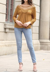 khaki Patchwork Hollow-out Pleated Open Back Long Sleeve Blouse