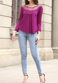 Purple Patchwork Hollow-out Pleated Open Back Long Sleeve Blouse