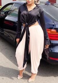 Schwarz Spitze-Up Turndown Kragen Langarm Elegante Oversize Bluse