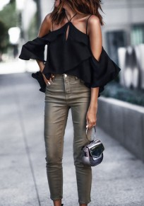 Black Cut Out Draped Cut Out Sleeveless Fashion Blouse