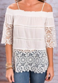 Weiß Splicing Spitze Condole Belt Off Shoulder Drapiert Mode Bluse Damen Oberteile
