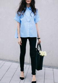 Blue Irregular Single Breasted Turndown Collar Elbow Sleeve Fashion Blouse