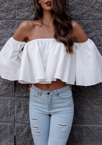 White Boat Neck Falbala Off-Shoulder Crop Draped Fashion Blouse