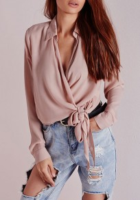 Pink Buttons Lace-Up Turndown Collar Long Sleeve Blouse