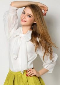 Chemisier avec noeud papillon col lavallière manches longues élégant femme de bureau blouse blanc