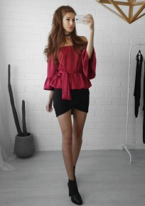 Red Belt Sashes Peplum Off Shoulder Boat Neck Elbow Sleeve Casual Blouse