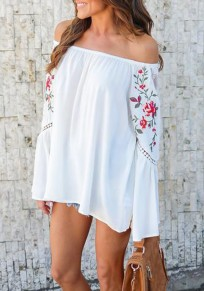 White Patchwork Lace Floral Embroidery Cut Out Off Shoulder Long Sleeve Mexican Blouse