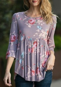 Purple Flowers Irregular 3/4 Sleeve Round Neck Casual Blouse