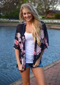 Schwarze Blumen-Ellenbogen-Hülse beiläufige Bluse