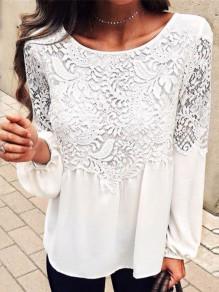 White Patchwork Lace Draped Round Neck Long Sleeve Fashion Chiffon Blouse