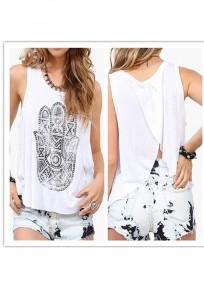 White Hamsa hand Floral Irregular Side Slit Backless Fashion Blouse