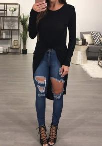 Black Irregular Swallowtail Round Neck Fashion Long Sleeve Blouse