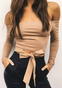 Khaki Bandeau Bow Knot Off Shoulder Bodycon Boat Neck Long Sleeve Blouse