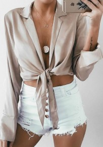 Apricot Midriff Plunging Neckline Long Sleeve Fashion Blouse