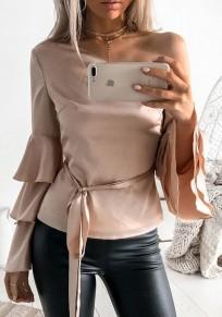 Pink Drawstring One Shoulder Ruffle Belt Long Sleeve Fashion Blouse