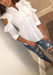 White Single Breasted Turndown Collar Casual Cotton Blouse