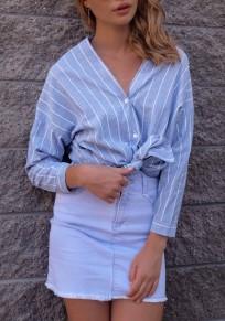 Blau Gestreift V-Ausschnitt Unregelmäßig Knöpfen Langarm Einreihig Mode Bluse Damen Oberteile