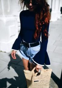 Chemisier en maille manches longues avec volantée slim femme blouse mode bleu foncé