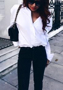 Weiß Einreihig Lace-up Tunnelzug Turndown Collar Langarm Mode Bluse Damen Oberteile