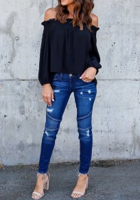 Black Pleated Lace-up Off Shoulder Boat Neck Long Sleeve Casual Blouse