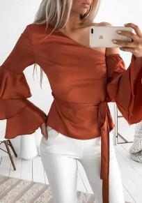 Blusa hombro asimétrico cordón manga larga moda dacron naranja