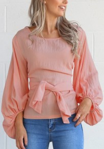 Blusa cordón cuello rojoondo manga larga moda dacron rosa