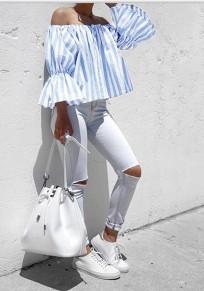 Blau Weißes Gestreiftes Off Shoulder Boot-Ausschnitt mit Trompetenärmeln Bluse Damen Top Oberteile