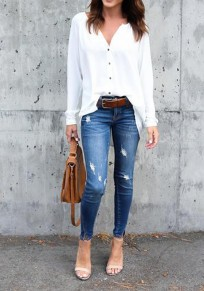 Weiß Unregelmäßige Drapierte einzelner breasted V-Ausschnitt Langarm Bluse