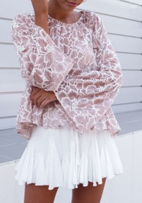 Pink Patchwork Lace Ruffle Peplum Drawstring Long Sleeve Fashion Blouse