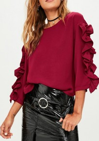 Tee shirt à volant col rond manches longues mode femme blouse bordeaux
