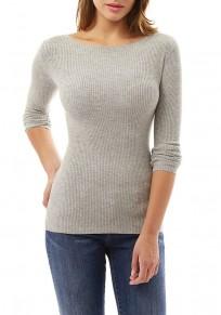 Grey Irregular Round Neck Long Sleeve Fashion Blouse