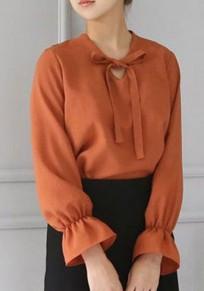 Chemisier cravate v-col manches longues mousseline de soie orange