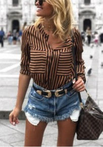 Brown Striped Buttons Long Sleeve Fashion Blouse