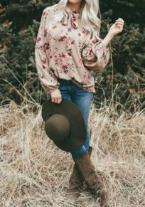 Blusa con cordones florales manga larga moda suelta caqui