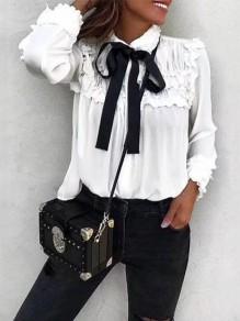Chemisier en mousseline à volantée col lavallière manches longues élégant femme blouse blanc