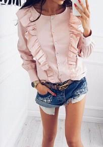 Blusa botones A rayas volantes cuello redondo moda rosa