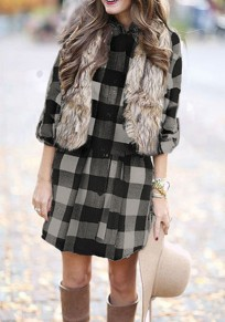 Black Plaid Buttons Belt Turndown Collar Casual Blouse
