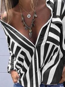 Chemisier à rayé avec poches manches longues mode femme mariniere blouse blanc et noir