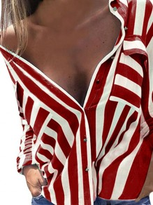 Red Striped Single Breasted Pockets Turndown Collar Fashion Blouse
