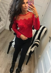 T-shirt splice dentelle col ronde manches longues slim moulante femme mode top rouge